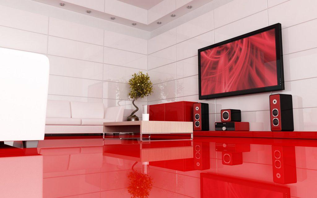 Современный интерьер гостиной с телевизором