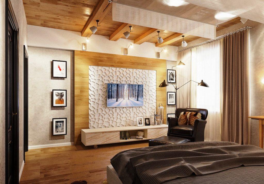 Телевизор в спальне с предметами интерьера