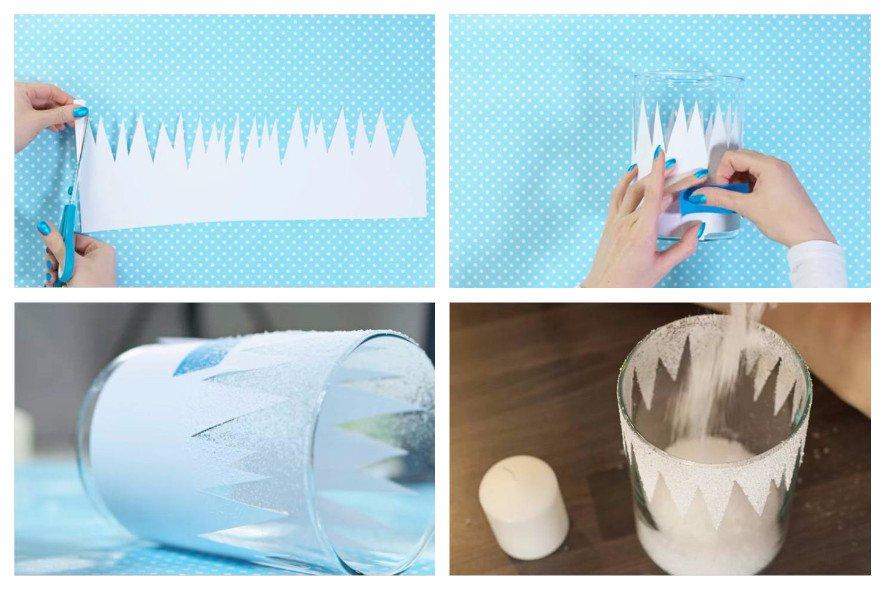 Новогодний декор подсвечника трафаретом из бумаги