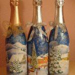 Фото 27: Декупаж новогоднего шампанского