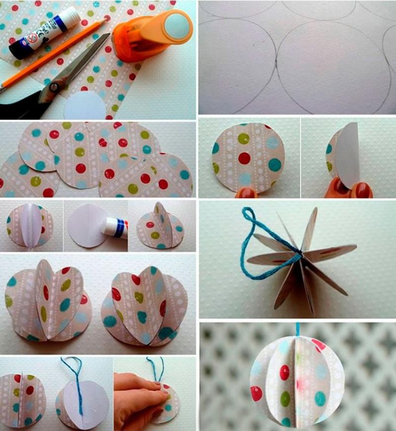 Елочный шар из кругов бумаги своими руками