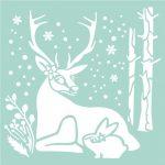 Фото 51: Трафарет животные в зимнем лесу