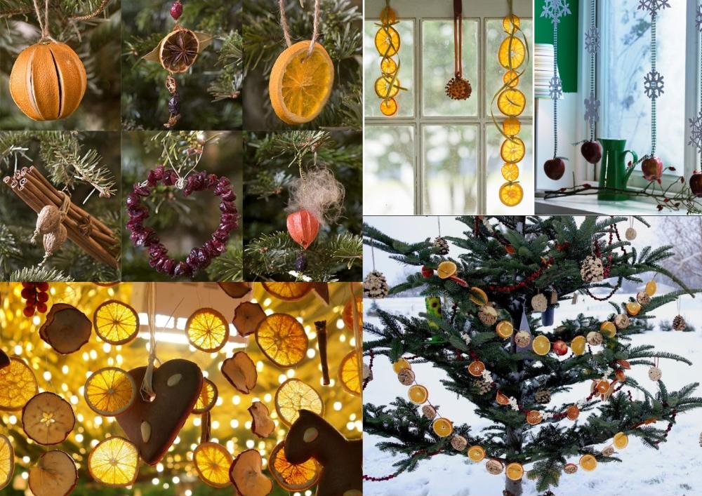 Аромаукрашения игрушки на елку из сухофруктов