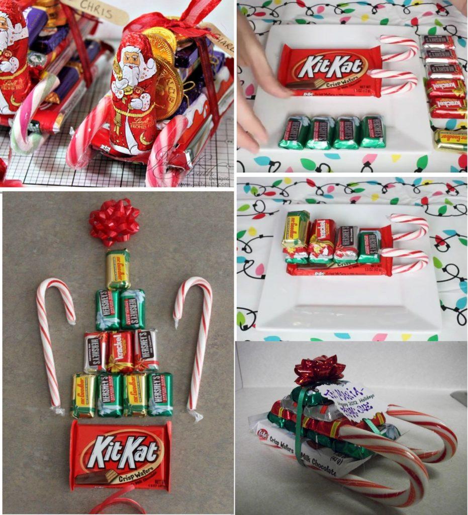 Санки из конфет в подарок на Новый Год