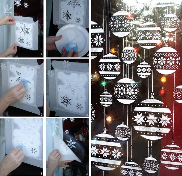 Новогодние рисунки на окне при помощи трафаретов и зубной пасты
