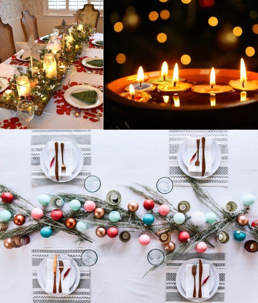 Декор новогоднего стола свечами