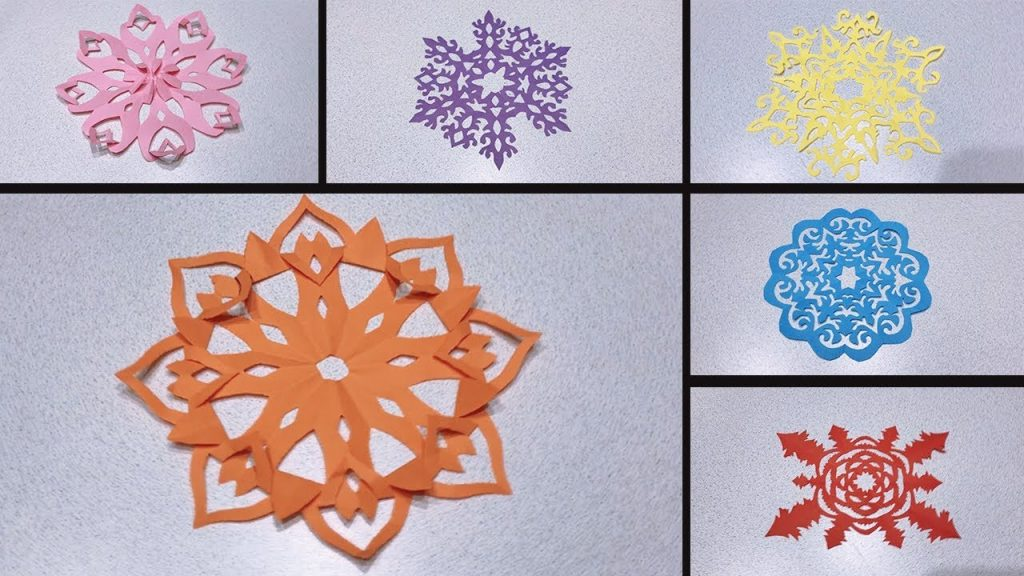 Разноцветные снежинки из бумаги на Новый Год
