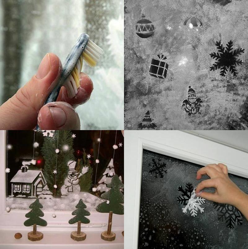 Новогодний рисунок зубной пастой на окне