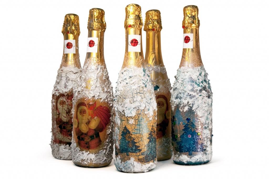 Новогодний декупаж бутылок в стиле шебби-шик