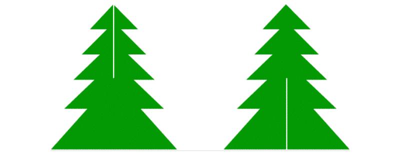 Шаблон елочки из двух половинок