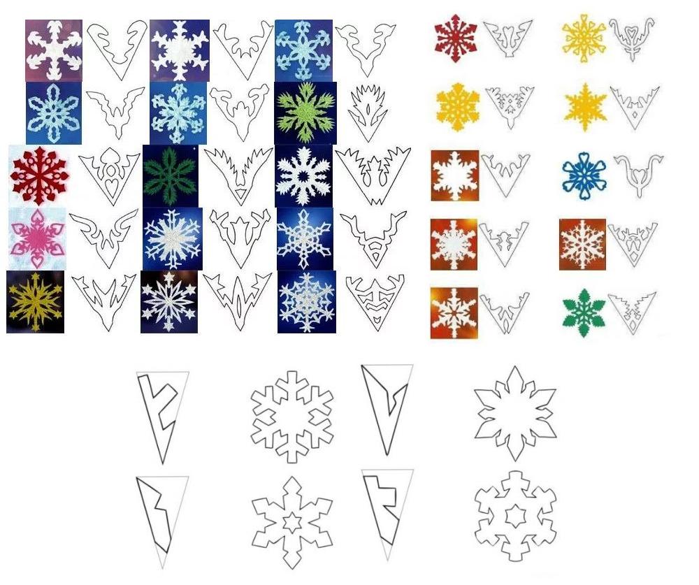 Простые узоры снежинок из бумаги