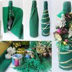 Фото 22: Новогоднее украшение бутылки гофрированной бумагой