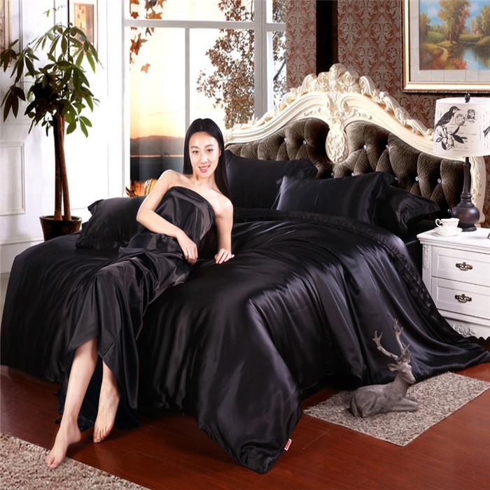 Черное сатиновое постельное белье