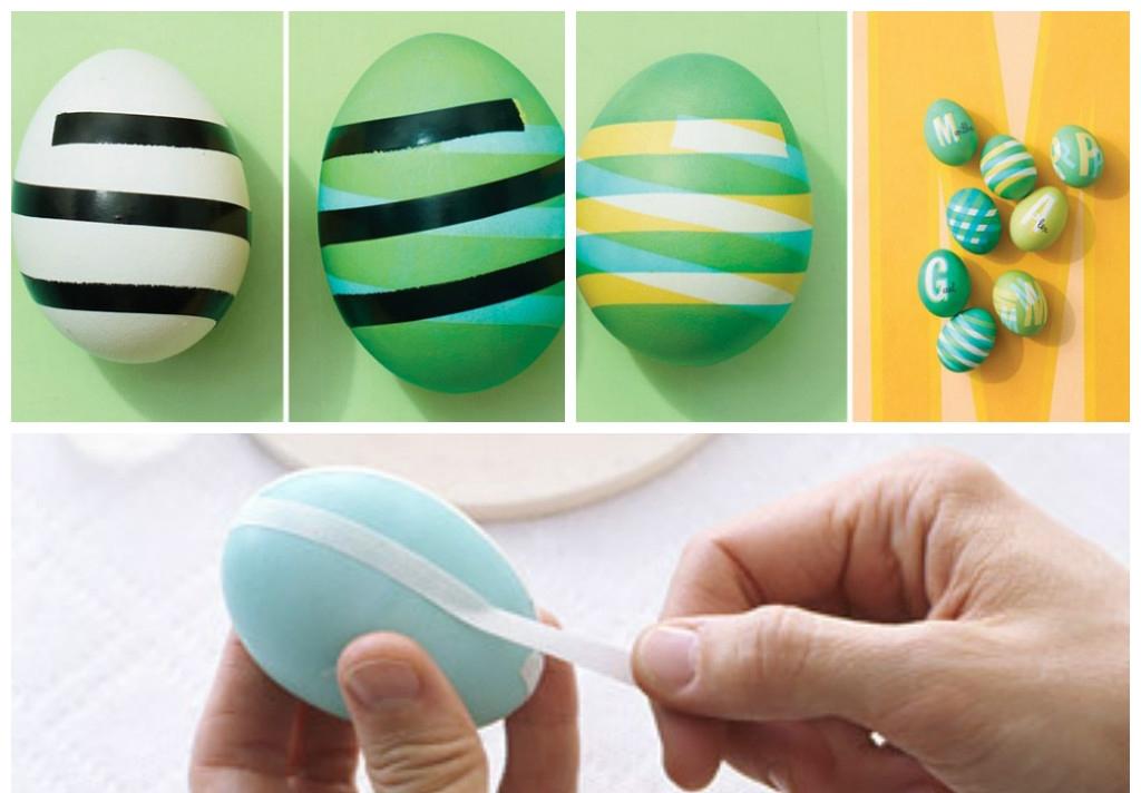 Украшение яиц клейкими лентами