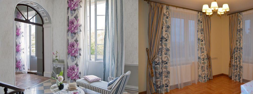Сочетание цветочных и полосатых штор