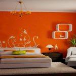 Фото 14: Оформление стен водоэмульсионной краской оранжевого цвета
