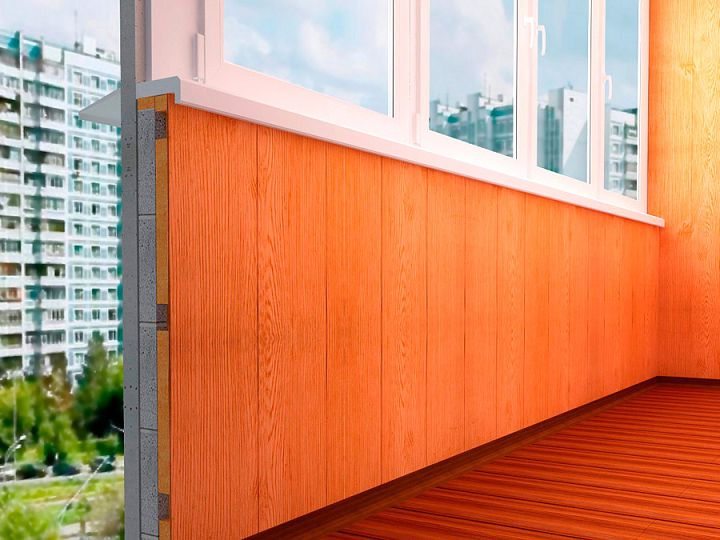 Отделка балкона внутри предусматривает плотную стыковку панелей