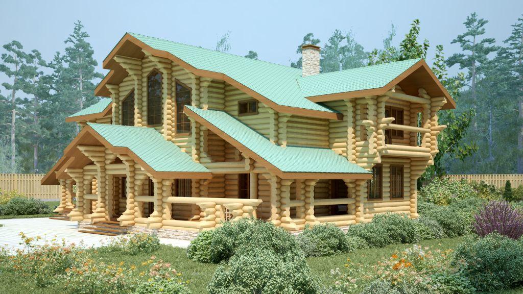 Дизайн современного дома из бревна