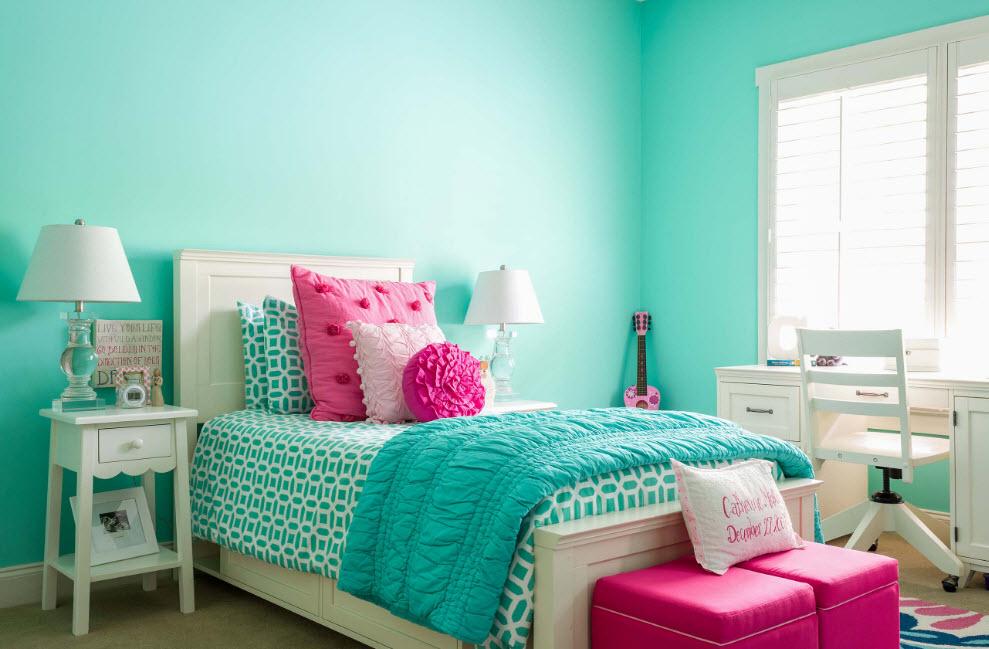 Идеальная спальня в бирюзовом цвете для девочек