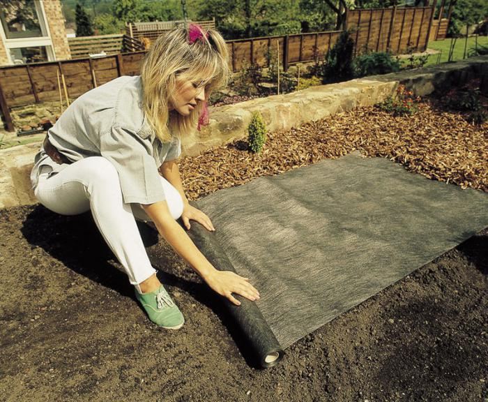 Удобное использование геотекстиля от сорняков