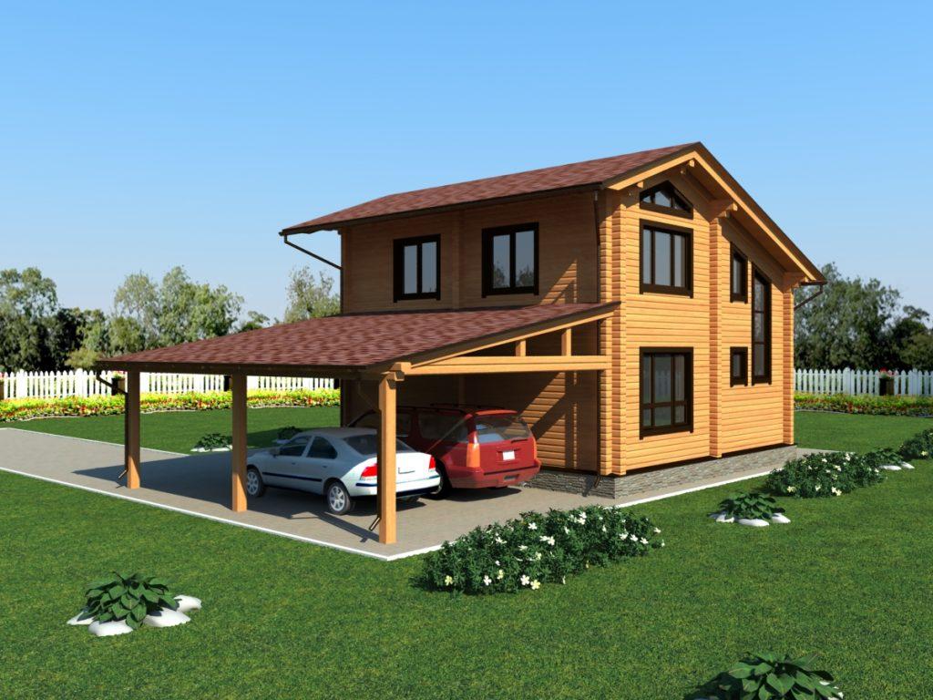 Встроенный гараж-навес