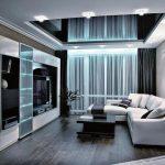 Фото 109: Натяжной потолок в интерьере гостиной