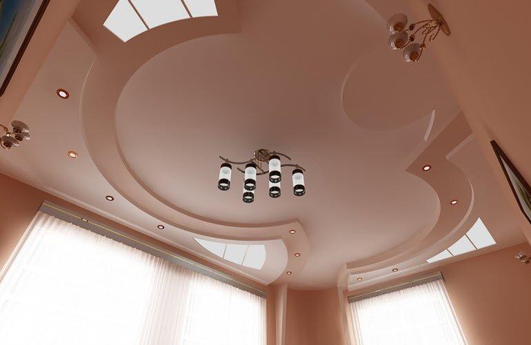 Дизайн натяжного потолка в зале