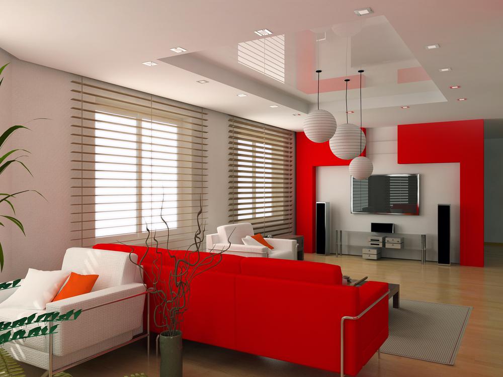 Стильная гостиная с белым натяжным потолком