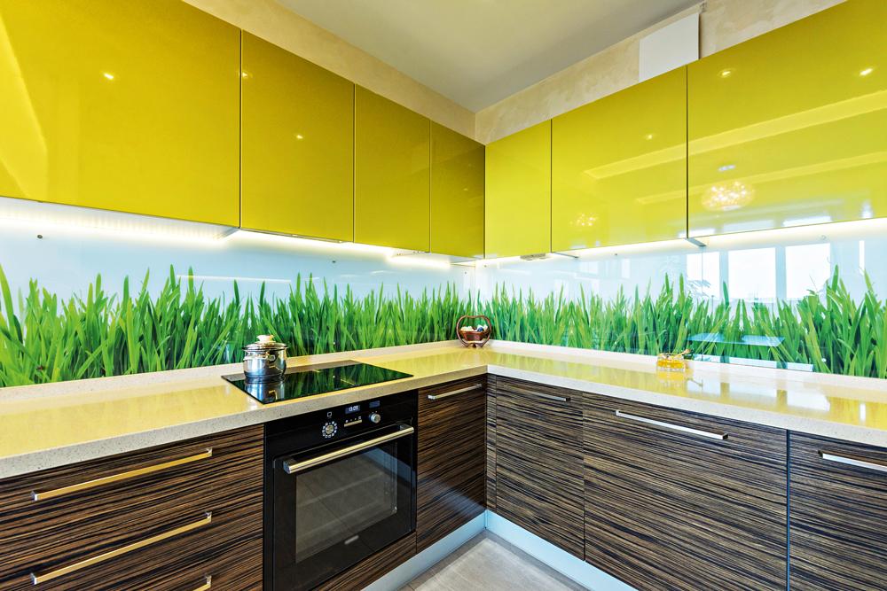 Летняя кухня с дизайнерским оформлением стеклянного фартука