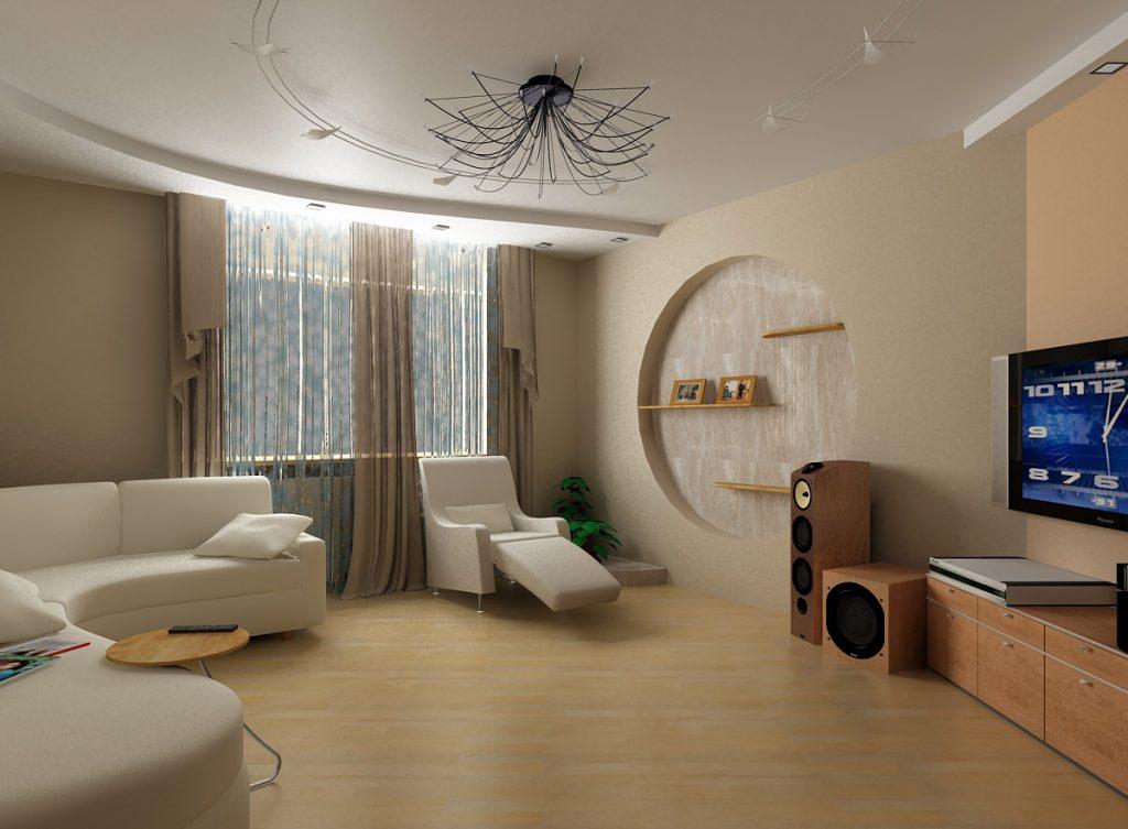Натяжной потолок в гостиной комнате