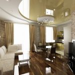 Фото 61: Натяжной потолок в интерьере гостиной
