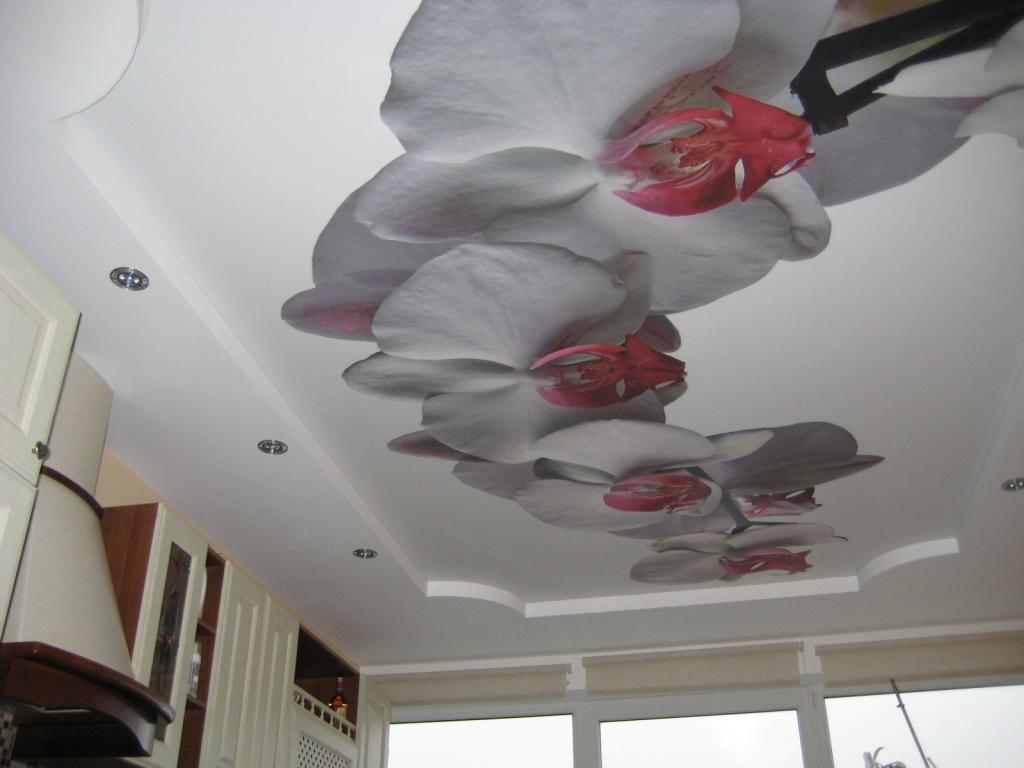 Многоярусный натяжной потолок с фотопечатью должен гармонировать с интерьером комнаты