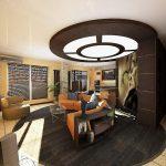 Фото 68: Натяжной потолок в интерьере гостиной