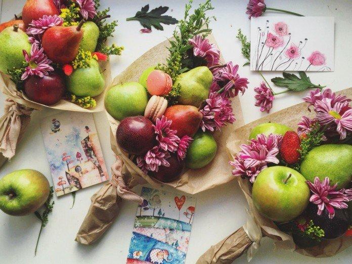 Декоративное оформление фруктовых букетов