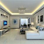 Фото 86: наятяжной потолок в интерьере гостиной