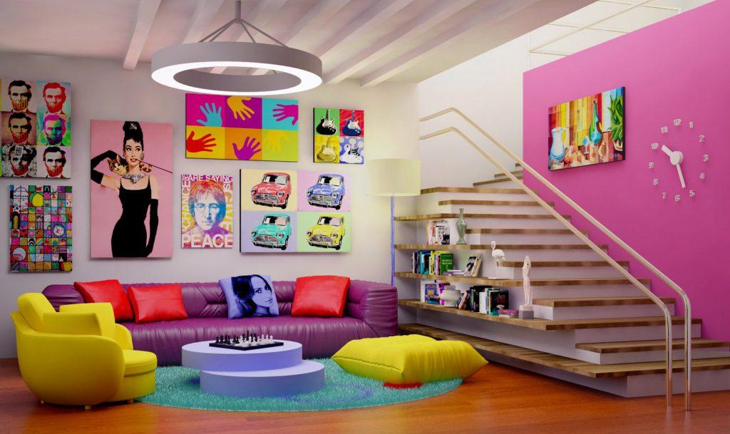 Креативное оформление гостиной Арт-постерами