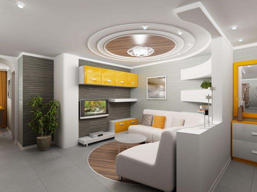 Стильный натяжной потолок в гостиной