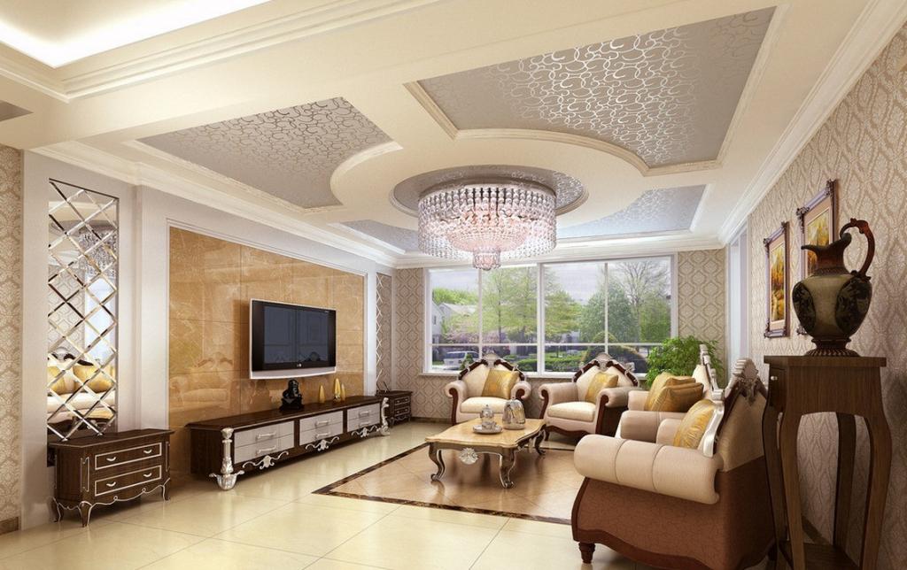 Тканевый натяжной потолок в интерьере современной гостиной