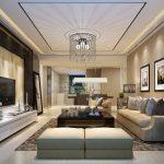 Фото 70: Натяжной потолок в интерьере гостиной