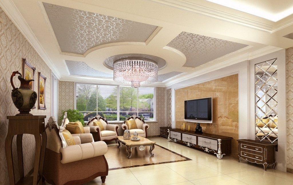 Красивый тканевый натяжной потолок в интерьере гостиной