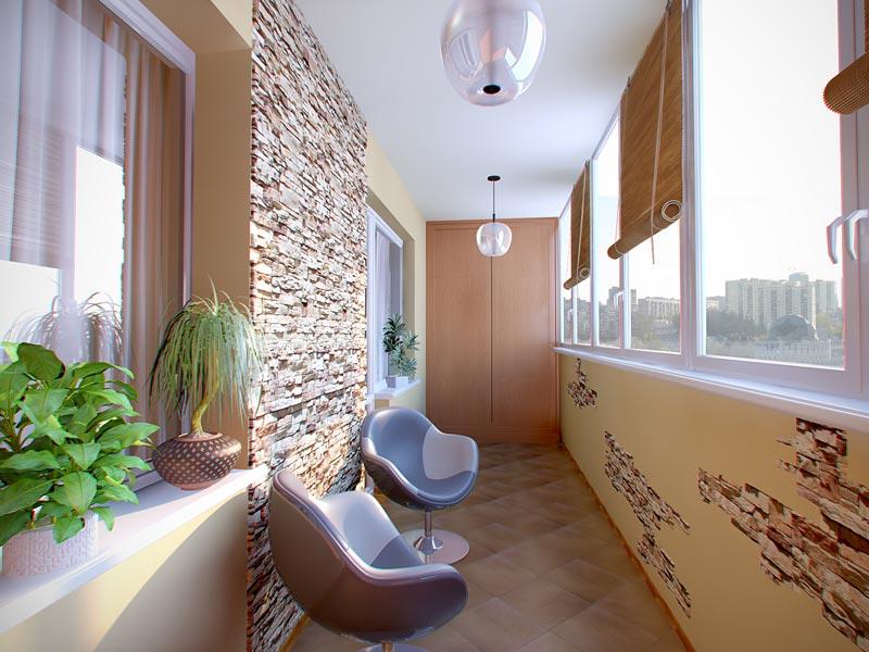 Современный дизайн внутренней отделки балкона