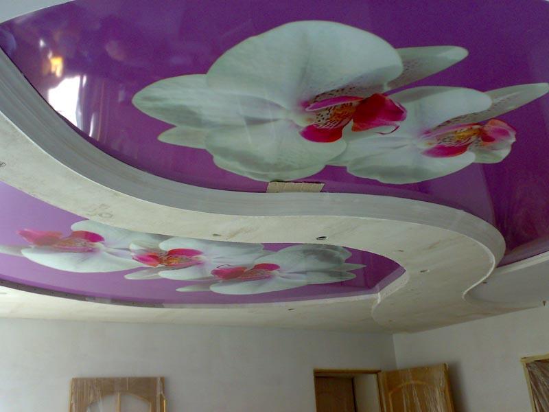 Двухуровневые потолки с фотопечатью на полотне