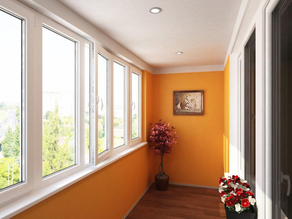 Вариант внутренней отделки балкона с покраской стен