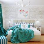 Фото 60: Бирюзовые шторы в спальне