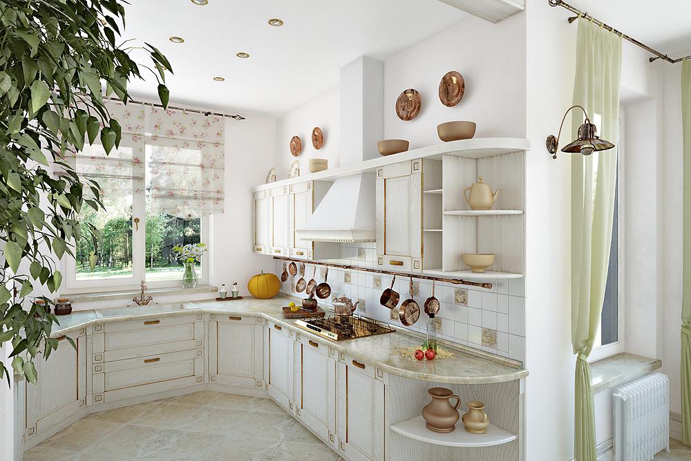 Дизайн белой шикарной кухни