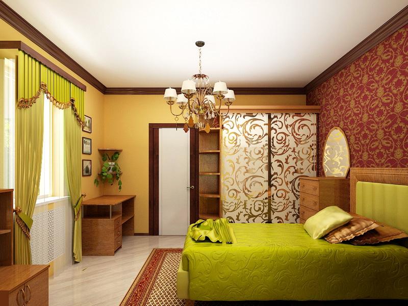 Матовый натяжной потолок в интерьере спальни
