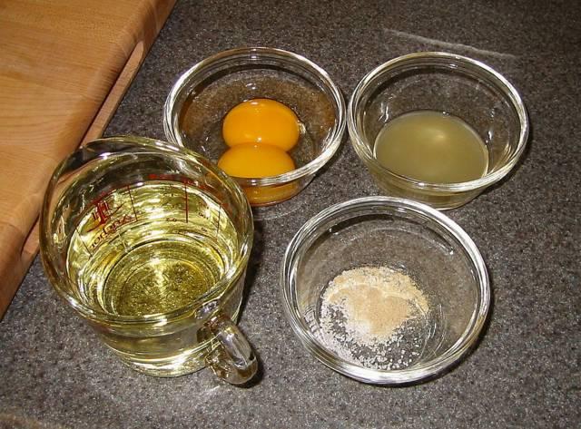 Ингредиенты для домашнего майонеза
