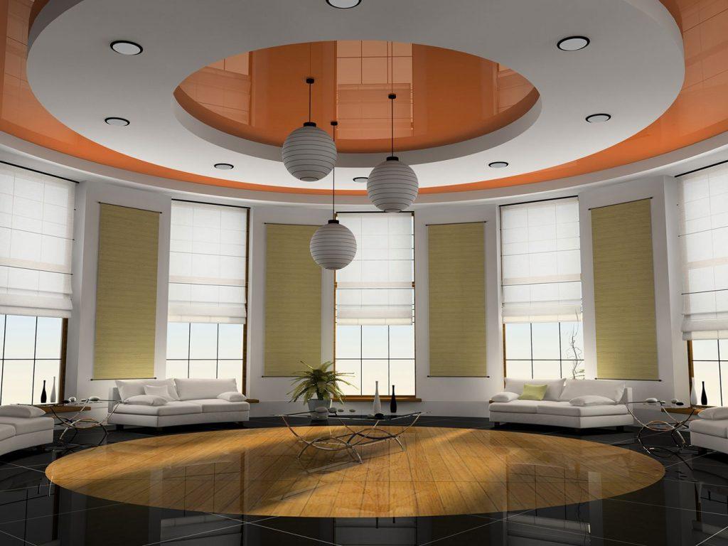 Красивый натяжной потолок в гостиной