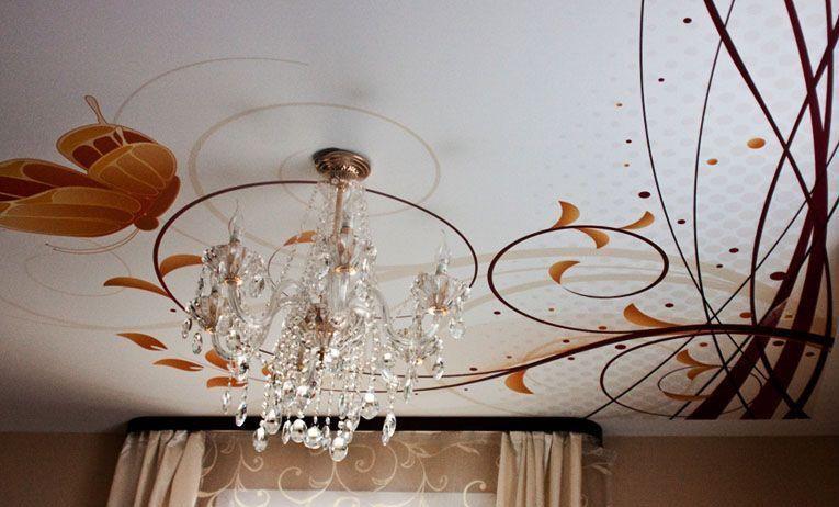 Художественная роспись на тканевых натяжных потолках