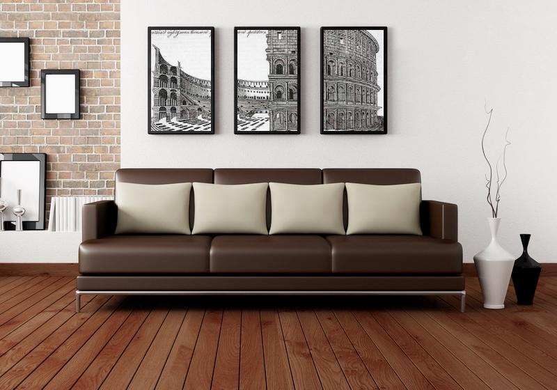 Сочетание картин в общем стиле интерьера